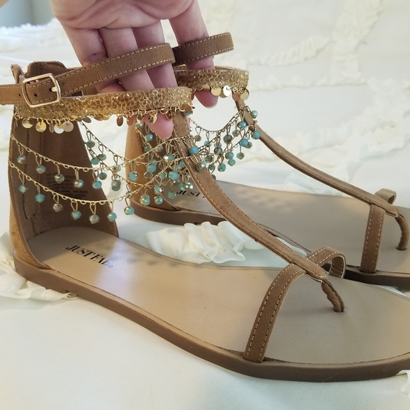 c320fcc71d2599 JustFab Shoes - NWOT Just Fab Whynna Jeweled Flat Sandal
